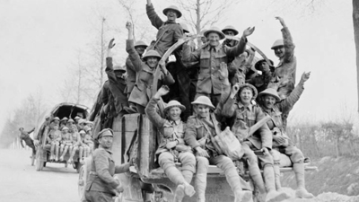 Canadian soldiers returning from Vimy Ridge