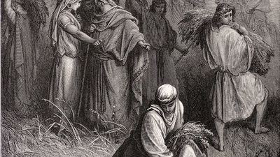 Boaz and Ruth, a scene from the bible. Engraving from 1870. Engraving by Gustave Dore, Photo by D Walker.