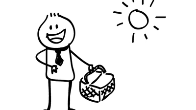 Stick figure man with picnic basket