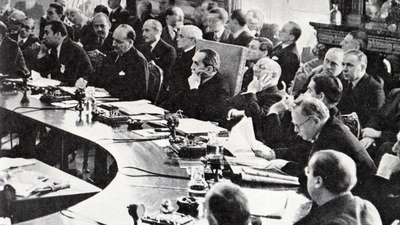 Stanley Bruce chairing the League of Nations Council in 1936.