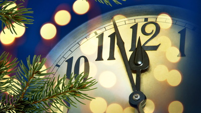 detail of new year clock with lights