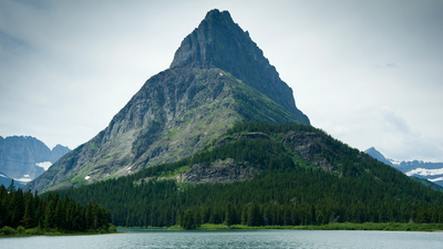 Imposing Mountain View and Lake Glacier National Park.  Many Glacier Area.  Swiftcurrent Lake.