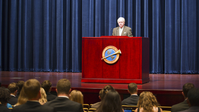 Gerald Flurry and Herbert W. Armstrong College Assembly.jpg