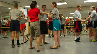 Dance instructor Michelle Nagtegaal instructs campers on the finer points of dancing.