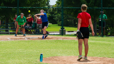 A member of 6G swings for the ball during a game of softball at PYC 2015.