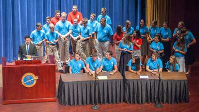Campers assembled on the stage of Armstrong Auditorium for the annual Bible Bowl