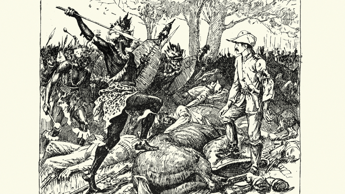 Vintage engraving of scene from the Shangani Patrol and Major Wilson's Last Stand. The Shangani Patrol (or Wilson's Patrol), comprising 34 soldiers in the service of the British South Africa Company, was ambushed and annihilated by more than 3,000 Matabele warriors during the First Matabele War in 1893. One of them lifted his assegai.