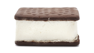 Isolated ice cream sandwich on a white background.