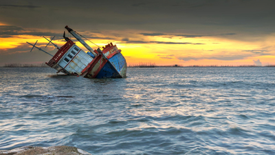 ship wrecked at sunset in Chonburi ,Thailand