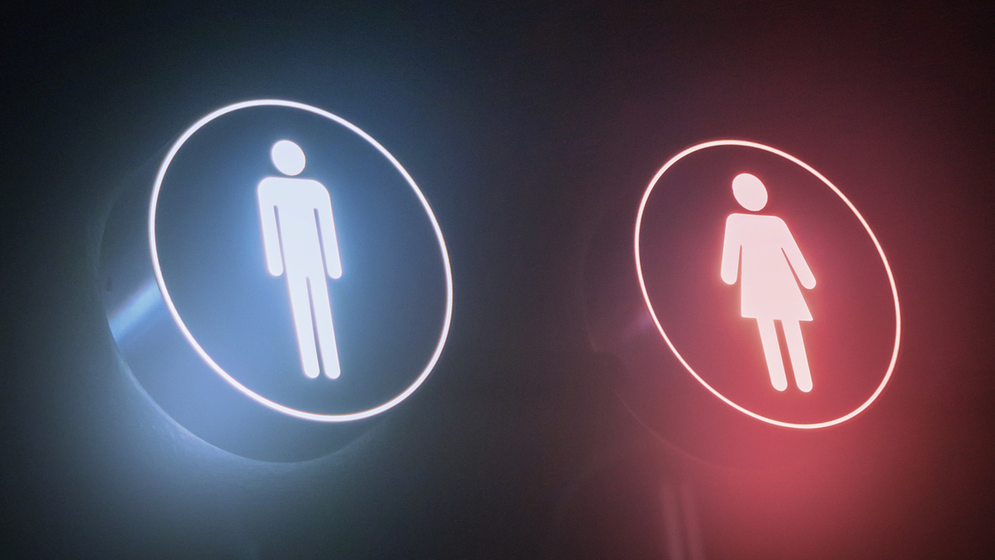 Entrance to the male and female toilet, stock photo