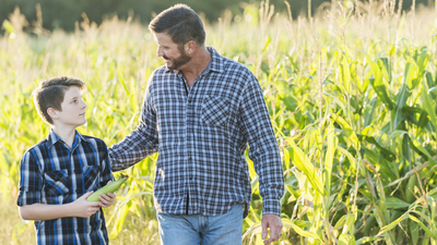A farmer with his son, 13 years old, walking by a field of crops, cornstalks ready for harvesting. His hand is on his son's back and they are looking at each other as they walk.