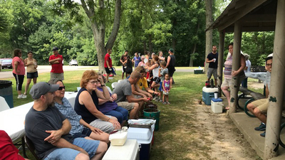ACT Midwest family picnic, people gathered fellowshipping, 16x9
