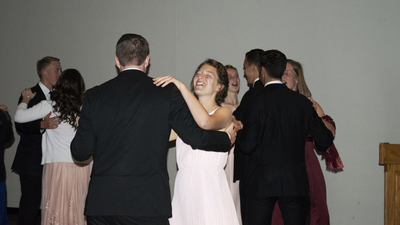ACT Thanksgiving Ball 2018 dancing Marianna and students, laughter 16x9