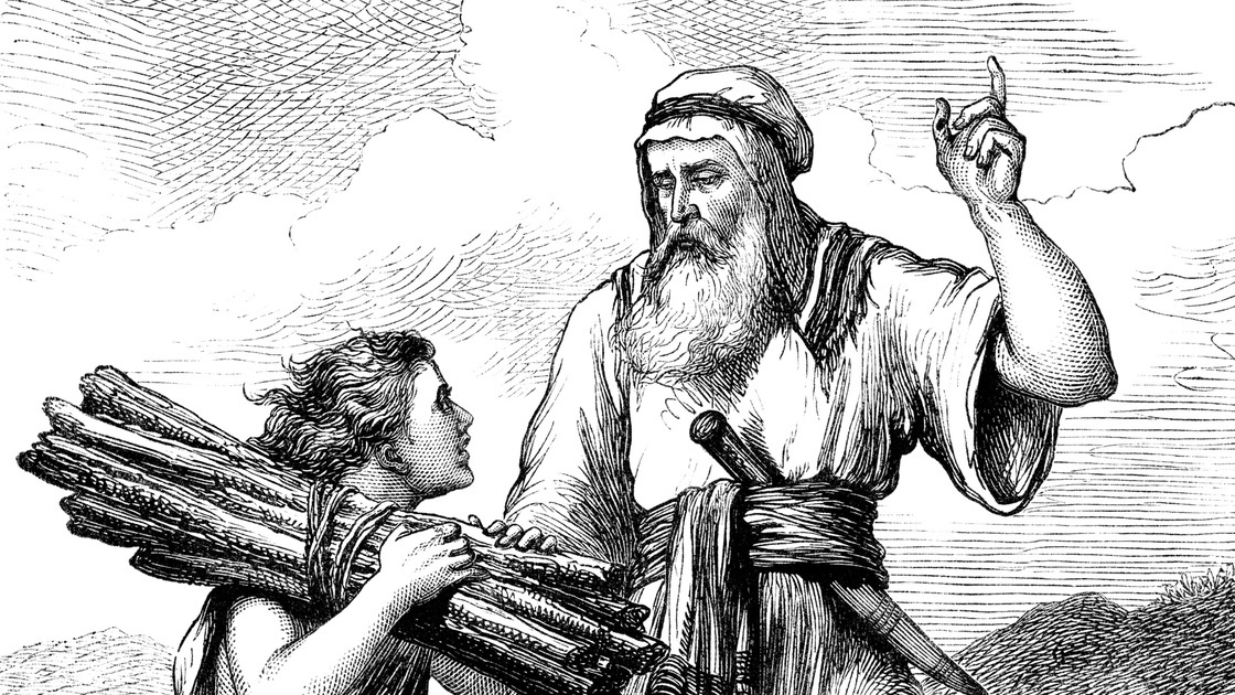 "A scene from the Old Testament - Abraham and his son Isaac who is carrying the sticks for the 'burnt offering', or sacrifice, which Abraham had been asked by God to make of Isaac. Illustration from ""The Children's Friend"" Vol XIII, published by Seeley, Jackson & Halliday, S.W Partridge & Co. in 1873."