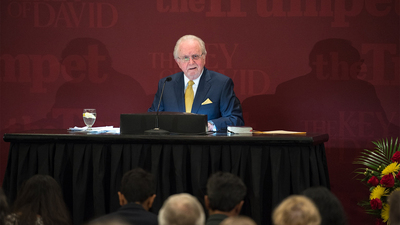 PAC Toronto, Pastor general Gerald Flurry giving lecture 16x9