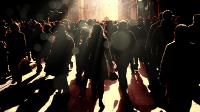 Close up image of crowded people walking on busy street in Istanbul, Turkey