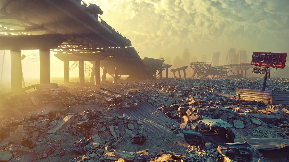 Ruins of a city. Apocalyptic landscape.3d illustration concept