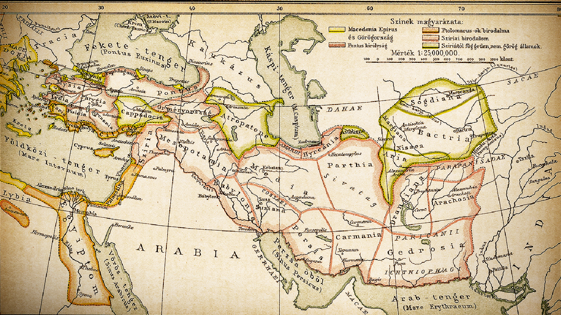 "Illustration of a Countries of Diadochi ( from Greek: Διάδοχοι, Diádokhoi, ""successors"") were the rival generals, families, and friends of Alexander the Great who fought for control over his empire after his death in 323 BC"