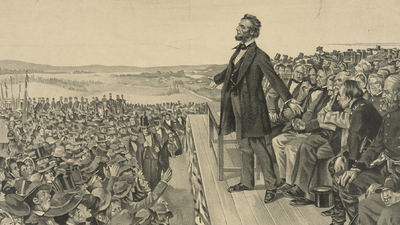 Abraham Lincoln delivering Gettysburg Address