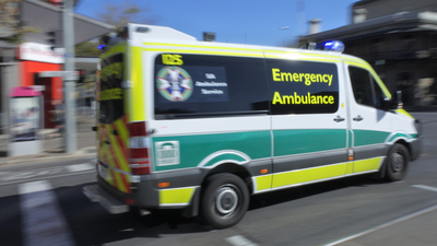 Adelaide, Australia - May 06 2019: SA Emergency Ambulance. SA Health provide clinical care and patient transport services to over 1. 5 million people, across an area of 1,043,514 km2 in South Australia, Australia.