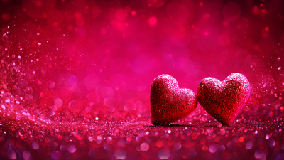 Two Glitter Hearts In Red Background - Valentine's Day Concept