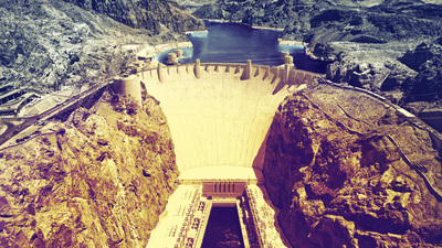 Hoover Dam on the border of Arizona and Nevada, USA.