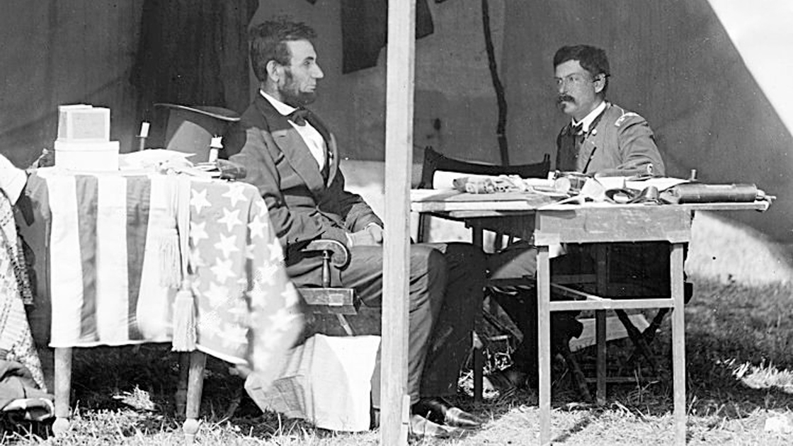 Abraham Lincoln and George B. McClellan in the general's tent at Antietam, Maryland, October 3, 1862.