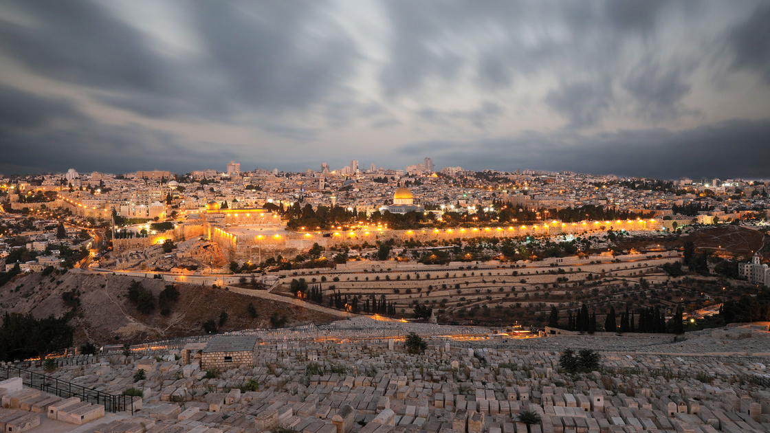 Jerusalem old city sunset night aerial view