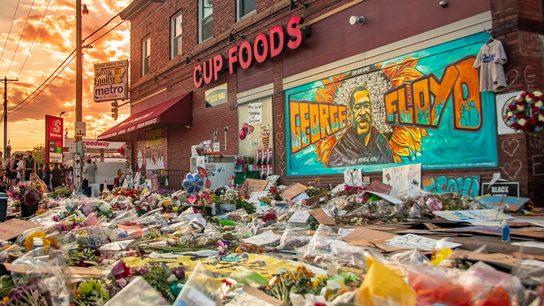 A makeshift memorial outside the store where Floyd was killed